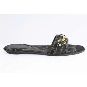 Coach Pattie Black Logo Buckle Slide Sandals